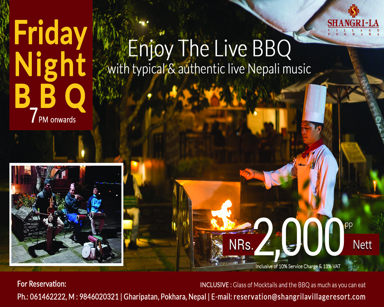 Friday Night BBQ with live music every Friday